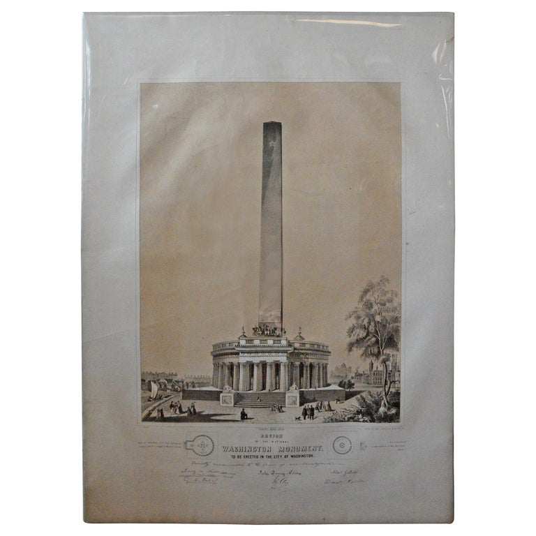 Washington Monument Broadside Lithograph For Sale