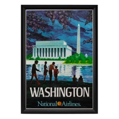 Washington D.C. National Airlines Vintage Travel Poster, circa 1960s