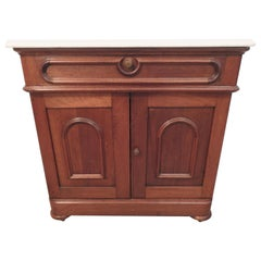 Washstand Walnut with Marble Top, Late 19th Century