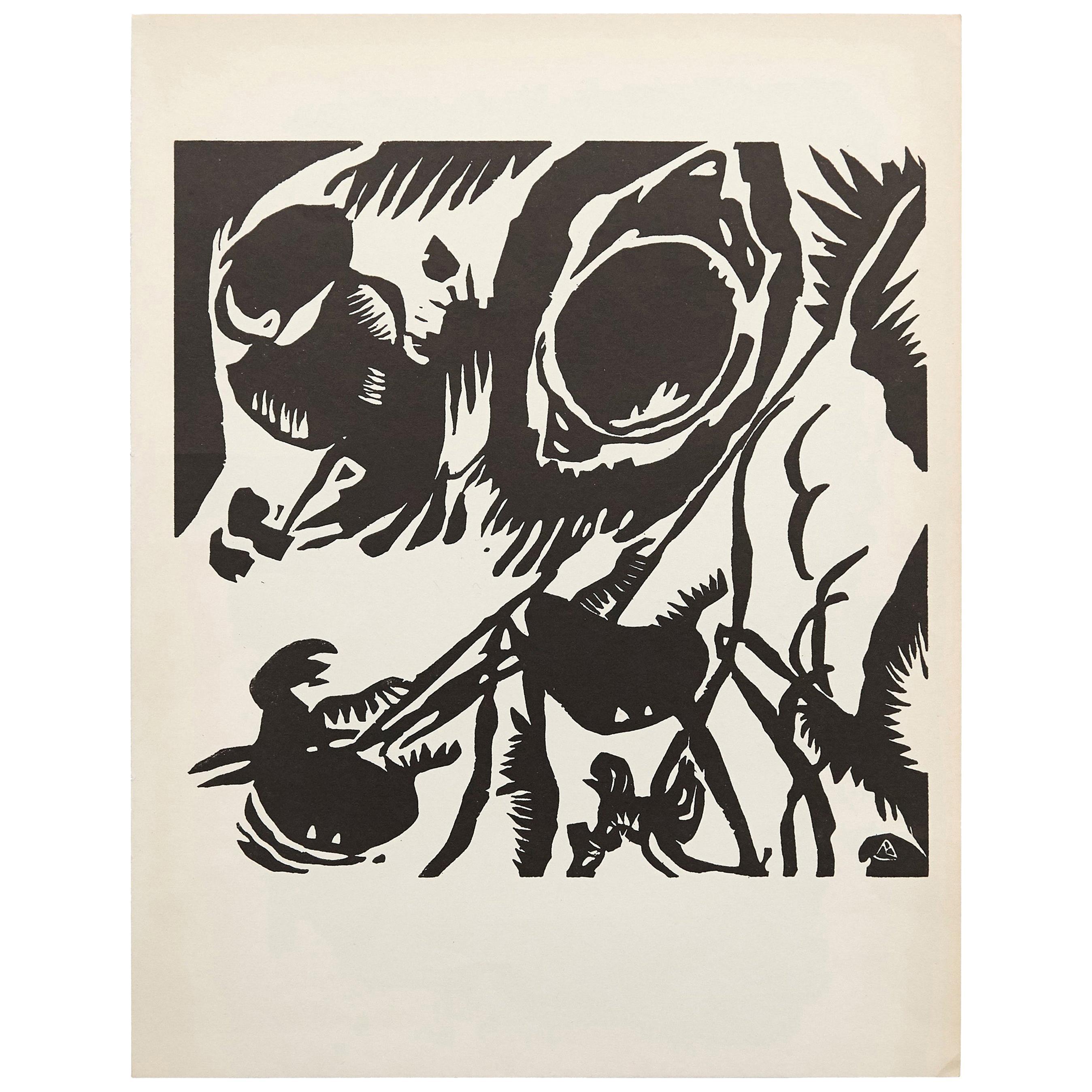 Wasilly Kandinsky Mid-Century Modern Abstract Woodcut