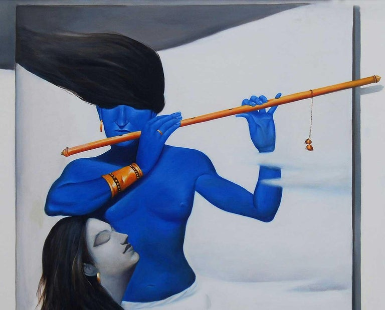Radha- Krishna, Oil on Canvas, Blue, White Colors, Famous Artist