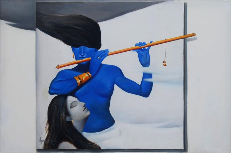 Wasim Kapoor - Untitled - 38 x 57 inches (unframed size) Oil on Canvas ( This work will be shipped in roll form for ease of shipment)  A wonderful 3D  effect work by the much lauded artist Wasim Kapoor .   About this work : In hindu Mythology