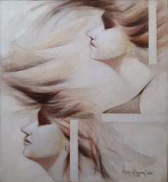 "Duet Woman, Conte on Canvas, by Indian Artist Wasim Kapoor ""In Stock"""