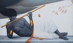 "Reclining Krishna, Mythology, Romantic, Oil Painting, Blue, Golden ""In Stock"""