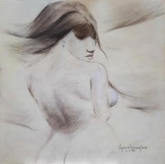 "Woman, Nude, Drawng, Conte on Canvas, Brown by Indian Artist ""In Stock"""