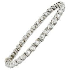 Waslikoff & Sons Art Deco 4.50 Carat Diamond Platinum Eyelet Line Bracelet