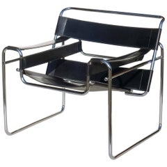 """""""Wassily"""" by Marcel Breuer Bauhaus Style 1970s Design Black Leather Armchair"""