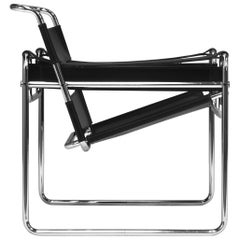 Wassily Chair by Marcel Breuer for Knoll in Black Leather circa 1970-80