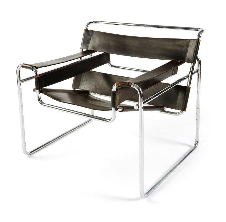 Mid-Century Modern 1950s Wassily Chair by Marcel Breuer For Sale