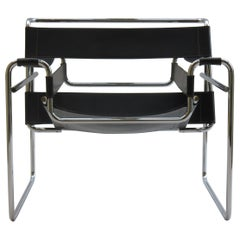 Wassily Chrome and Leather B3 Chair in Black by Marcel Breuer for Gavina