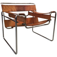 Wassily Cognac Leather Armchair by Marcel Breuer Knoll, circa 1970