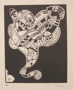 Gravure 10 pour Origine - Original Woodcut Print by Wassily Kandinsky - 1942