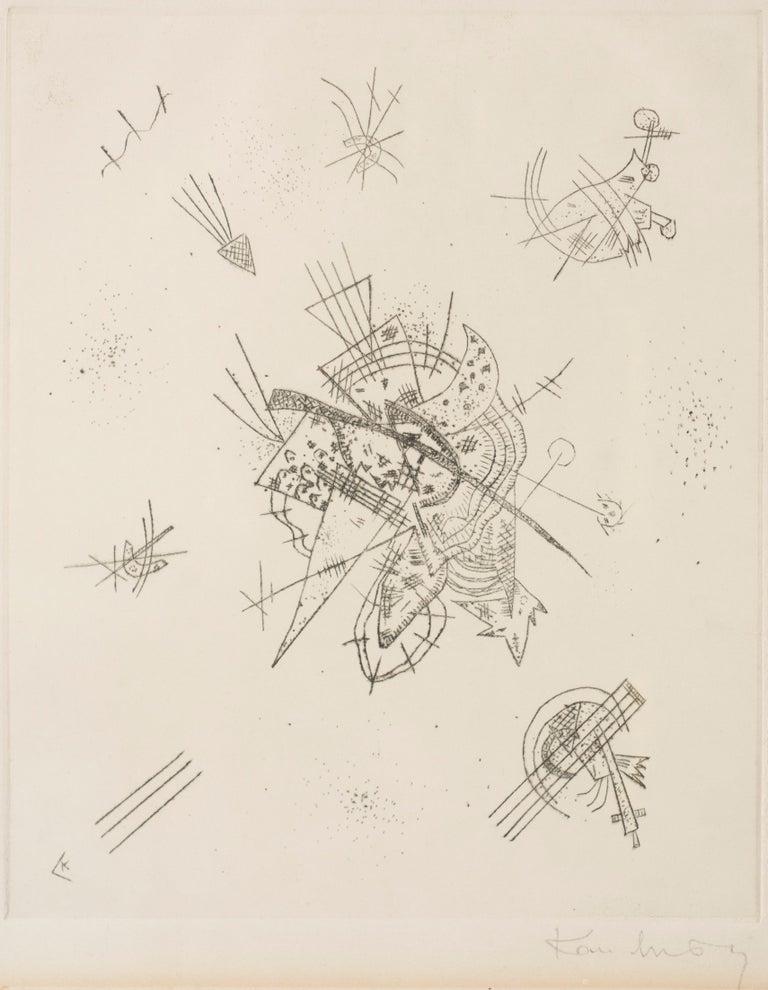 "Kleine Welten is an original artwork realized by Wassilj Kandinskij in 1922.  Original drypoint on paper. Monogramed on the lower left corner: ""K"". Signed on the lower right corner: ""Kandinsky"".  The original label and the stamp of ""Galleria Giulia"""