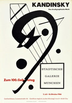 Original Vintage Poster Kandinsky Graphic Works Exhibition Munich Bauhaus Kites