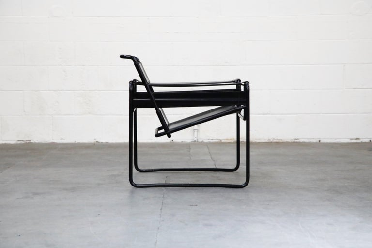 American 'Wassily' Marcel Breuer for Knoll, Rare Black on Black Leather Lounge Chair For Sale