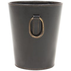 Waste Bin in Patinated Leather and Brass. Made for Illums Bolighus, 1950s