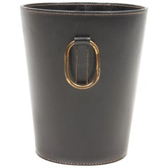 Waste Bin in Patinated Leather and Brass, Made for Illums Bolighus, 1950s