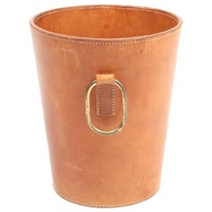 Waste Bin in Patinated Leather, Illums Bolighus, 1950s, Dainsh Midcentury
