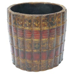 Wastebasket with Faux Books Style of Maitland Smith