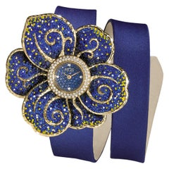 Watch Gold White Diamonds Sapphire Satin Strap Hand Decorated with Micro Mosaic