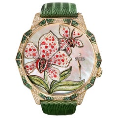 Watch Automatic Gold White Diamond Sapphire Emerald Alligator Strap Nano Mosaic
