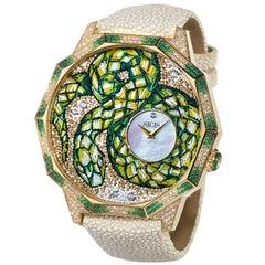 Watch Automatic Gold White Diamonds Emeralds Galuchat Strap Nano Mosaic