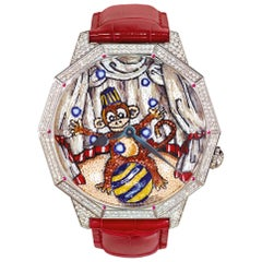Watch Automatic White Gold White Diamonds Ruby Alligator Strap Micro Mosaic