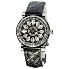 Watch Gold Steel White and Black Diamonds Alligator Strap Decorated Micromosaic