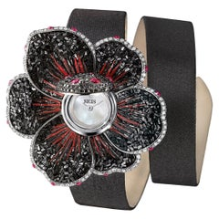 Watch Gold White and Black Diamonds Ruby Satin Strap Hand Decorated Micromosaic
