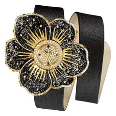 Watch Gold White & Black Diamonds Sapphires Satin Strap Handdecorated NanoMosaic