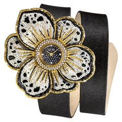 Watch Gold White and Black Diamonds Satin Strap Hand Decorated with Micromosaic