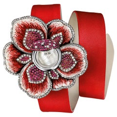 Watch Gold White Diamonds Ruby Satin Strap Handdecorated with Micromosaic