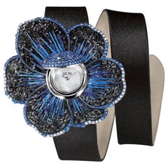 Watch Gold White Diamonds Sapphire Satin Strap Hand Decorated with Micromosaic