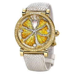 Watch Gold White Diamonds Sapphires Mother of Pearl Galuchat Strap Micro Mosaic