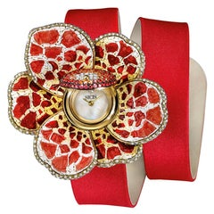 Watch Gold White Diamonds Sapphires Satin Strap Hand Decorated with Micromosaic