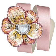 Watch Gold White Diamonds Sapphires Satin Strap Hand Decorated with Micro Mosaic