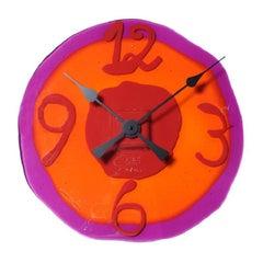 Watch Me Large Clock in Clear Fuchsia, Clear Orange & Matt Red by Gaetano Pesce