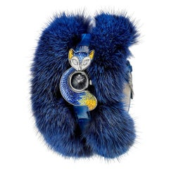 Watch Silver White Diamonds Alligator and Fur Strap Handdecrated with NanoMosaic