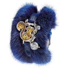Watch Silver White Diamonds Chalcedony Fur and Alligator Strap Guilloche Dial