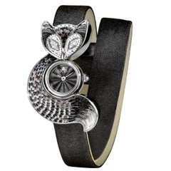 Watch Steel Case Silver White Diamonds Satin Strap Guilloche Dial Nano Mosaic