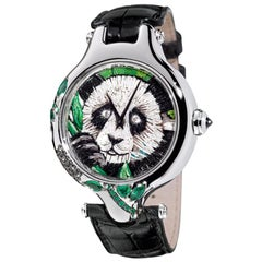 Watch White Gold Black Diamonds Sapphires Emeralds Galuchat Strap Nano Mosaic