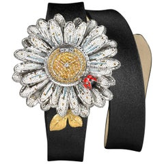 Watch White Gold Black Diamonds Sapphires Satin Strap Decorated with MicroMosaic