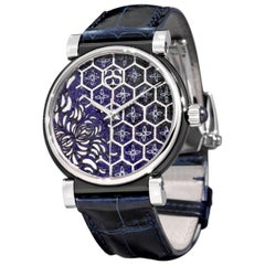 Watch White Gold Steel Sapphires Alligator Strap Hand Decorated with MicroMosaic