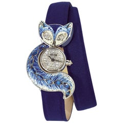 Watch White Gold White & Black Diamond Sapphire Satin Strap Decorated NanoMosaic