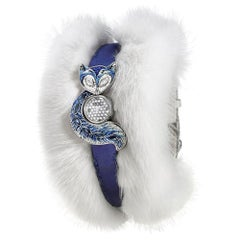 Watch White Gold White and Black Diamond Sapphires Silk & Fur Strap Micro Mosaic