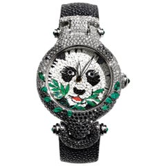 Watch White Gold White and Black Diamonds Emeralds Galuchat Strap Nano Mosaic