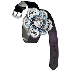 Watch White Gold White Black and Ice Diamonds Satin Strap Decorated Micromosaic