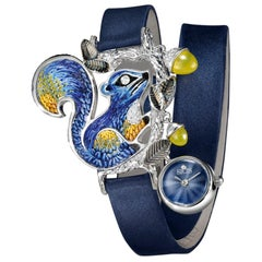 Watch White Gold White Diamond Agate Guilloche Dial Satin Strap Micro Mosaic