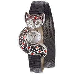 Watch White Gold White Diamond Lizard Strap Guilloche Dial Decorated Micromosaic