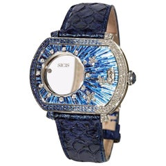 Watch White Gold White Diamonds Sapphires Alligator Strap Decorated MicroMosaic